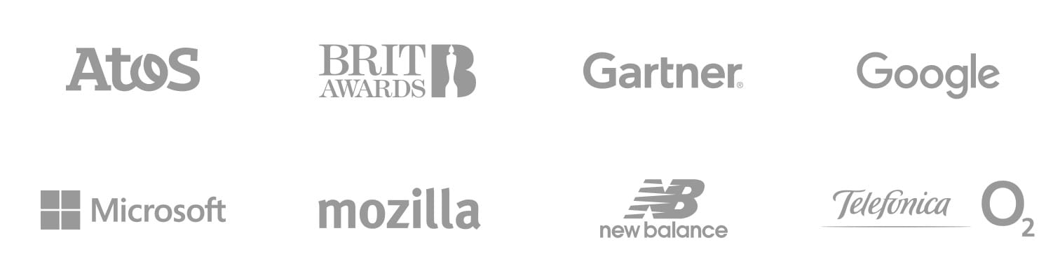 Atos, Brit Awards, Gartner, Google, Microsoft, Mozilla, New Balance, O2 Telefonica